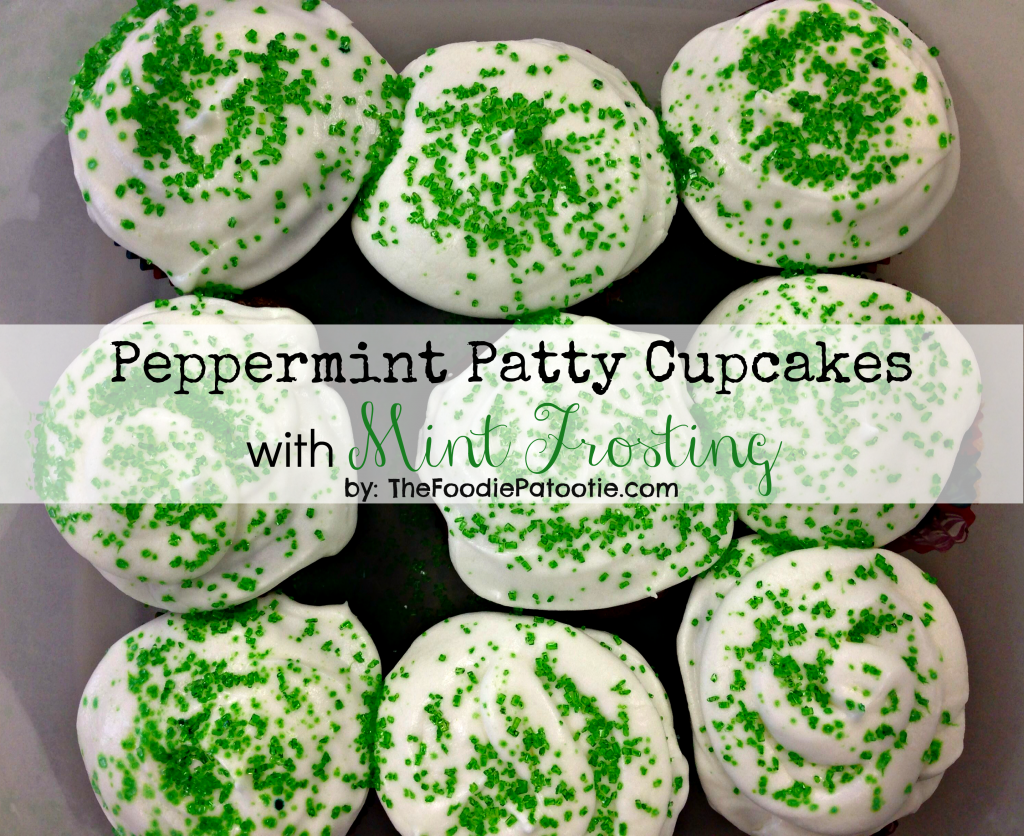 Peppermint Patty Cupakes with Mint Frosting via TheFoodiePatootie.com | #dessert #chocolate #mint #peppermintpatty #cupcakes #foodholiday #foodcalendar #recipe