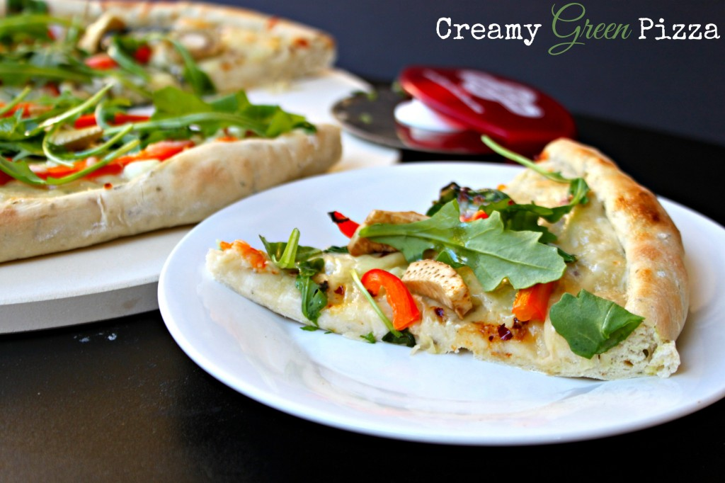 Creamy Green Pizza via TheFoodiePatootie.com | #recipe #foodholiday #pizza #artichokehearts