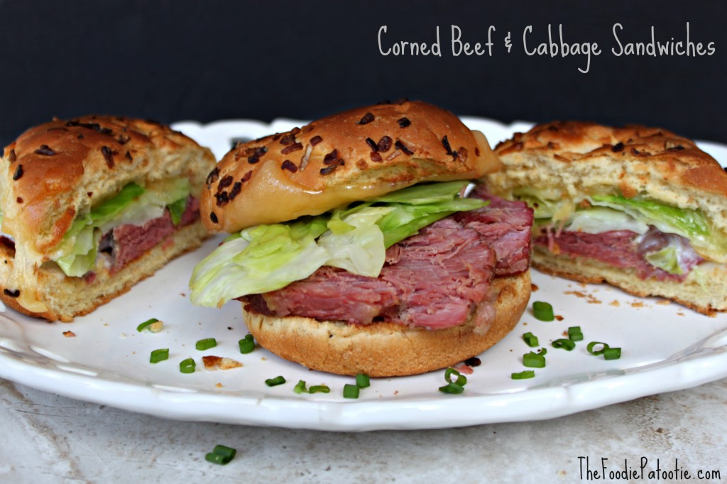 Corned Beef & Cabbage Sandwiches via TheFoodiePatootie.com | #Irish #cornedbeef #cabbage #recipe #sandwiches #foodholiday