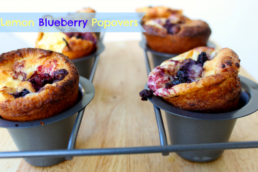 Blueberry Lemon Popovers via TheFoodiePatootie.com | #blueberry #breakfast #baking #foodholidays #recipe