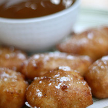National Fritters Day | Apple Fritters and Peanut Butter Caramel Sauce