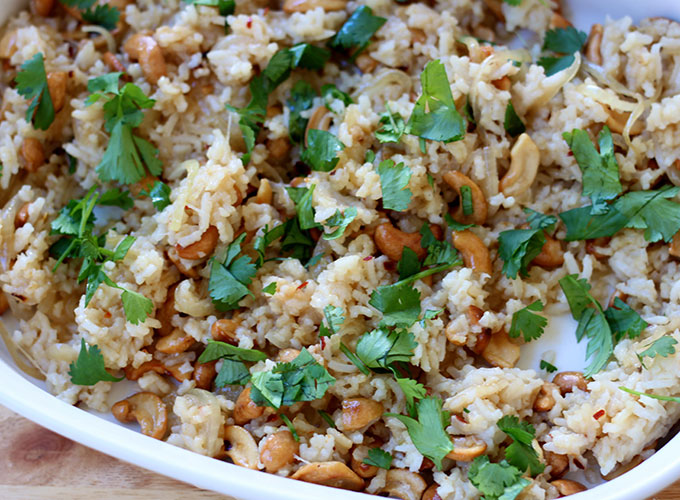 National Cashew Day | Cilantro Soy Rice