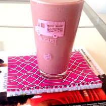 My new best friends: strawberry protein smoothie, health planner, weight lifting book