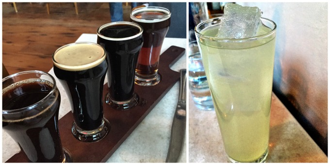 Beer flight with house-made vanilla lemonade