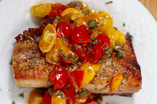 cherry tomatoes with fish