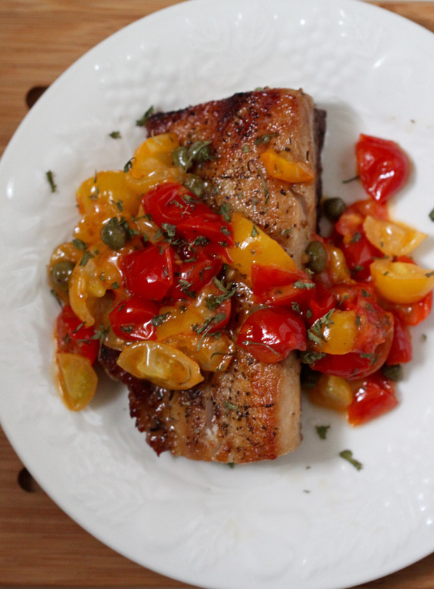 cobia with tomatoes and capers