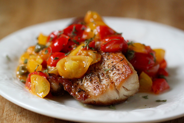 Saut ed cobia with tomatoes and capers the foodie patootie for Cobia fish recipe