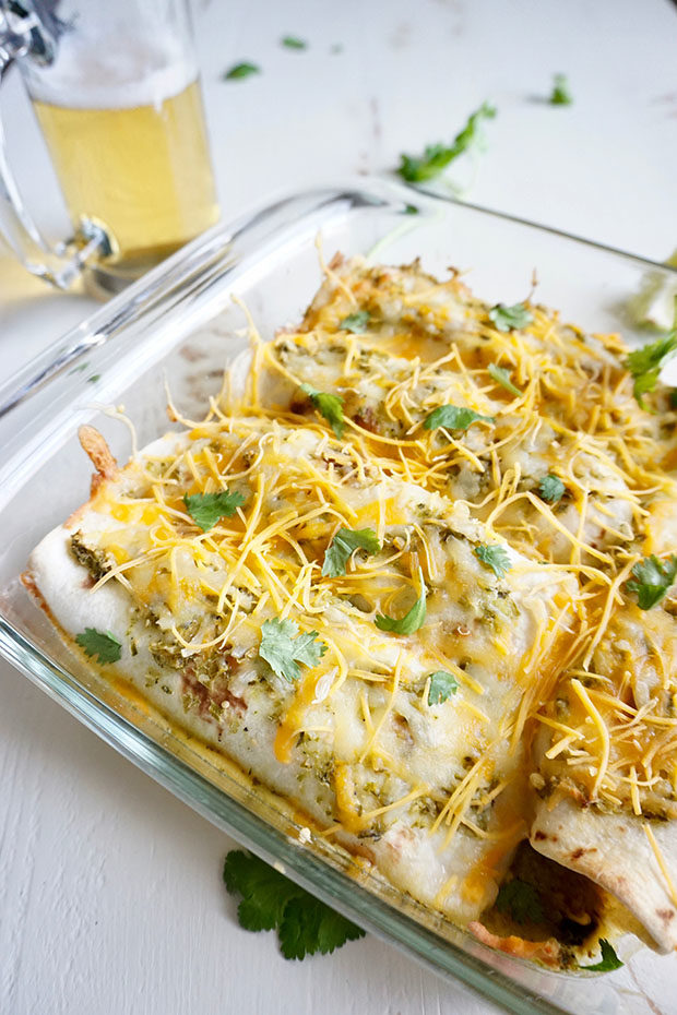 Butternut Squash and Black Bean Enchiladas with Salsa Verde and Corona