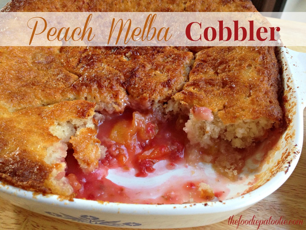 Peach Melba Cobbler for National Peach Melba Day | TheFoodiePatootie.com | #dessert #fruit #recipe