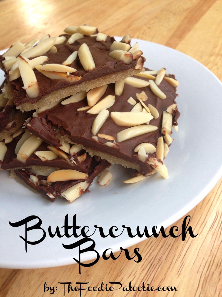 Buttercrunch Bars via TheFoodiePatootie.com | #snack #dessert #chocolate #toffee