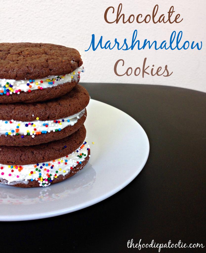 Chocolate Marshmallow Cookies via TheFoodiePatootie.com | #dessert #cookies #chocolate #cremefilledchocolates #recipe #foodholiday #foodcalendar