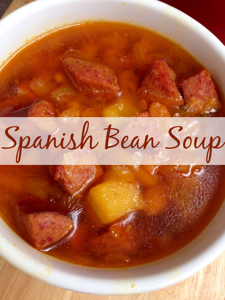 Spanish Bean Soup #recipe via TheFoodiePatootie.com | #soup #foodholiday #foodcalendar #ham