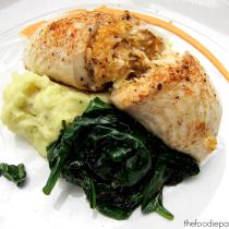 Crab-Stuffed Flounder via TheFoodiePatootie.com | #seafood #foodholiday #foodcalendar #recipe