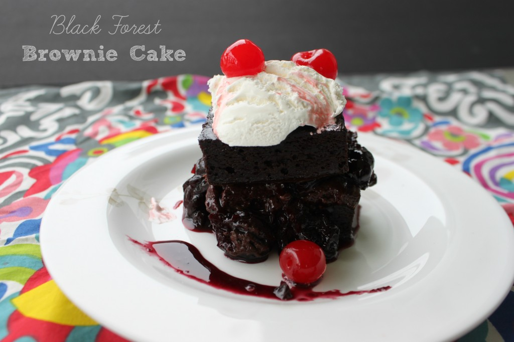 Black Forest Brownie Cake via TheFoodiePatootie.com | #chocolate #dessert #cherries #brownie #cake #recipe #foodholiday
