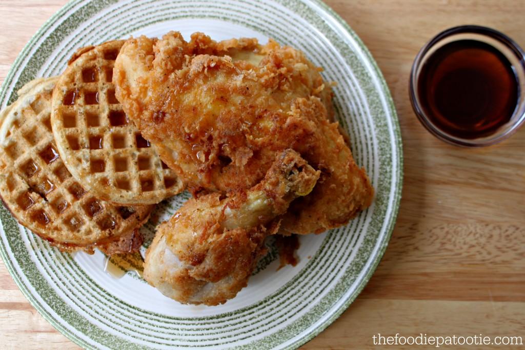 Fried Chicken & Waffles via TheFoodiePatootie.com | #breakfast #waffle #chicken #fried #brunch #recipe #foodholiday