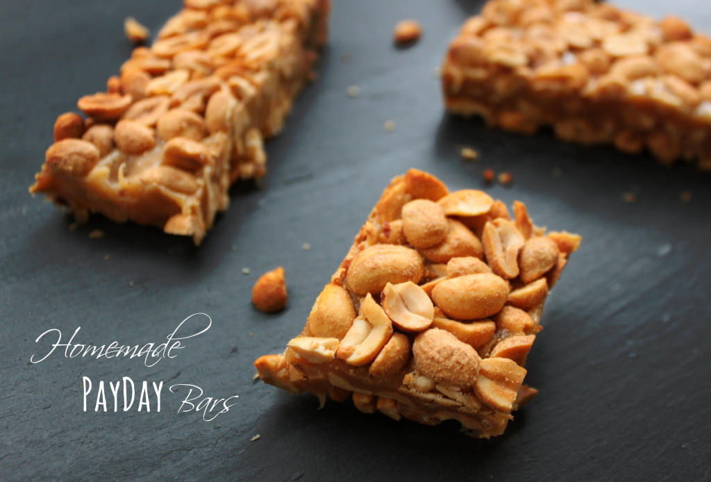 Homemade PayDay Bars via TheFoodiePatootie.com   #dessert #peanutbutter #nuts #recipe #foodholiday