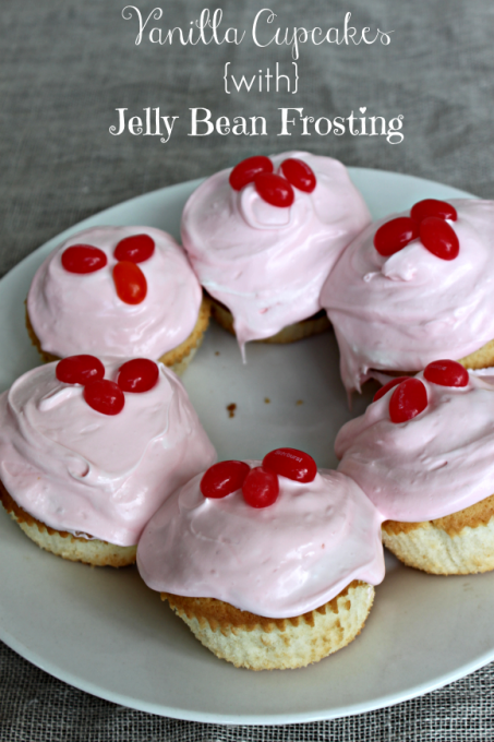 National Jelly Bean Day   Vanilla Cupcakes with Jelly Bean Frosting