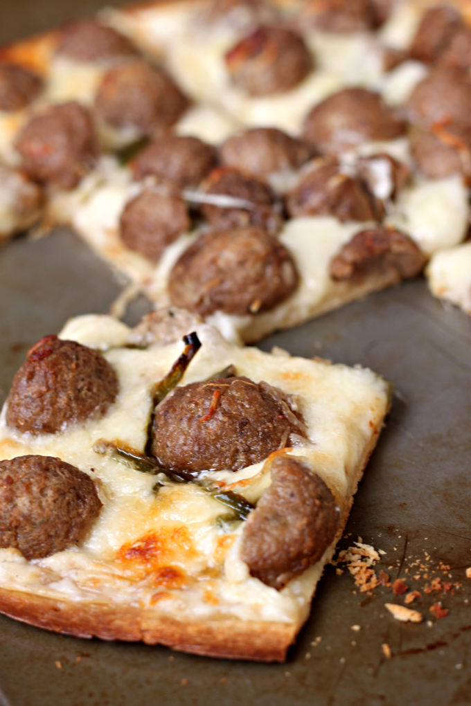 National Junk Food Day | Spicy Pizza Bianca with Meatballs