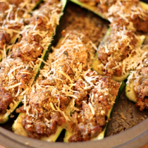 National Bratwurst Day | Bratwurst-Stuffed Zucchini Boats