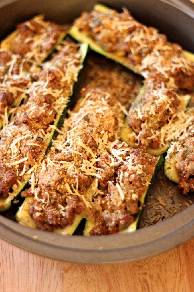 National Bratwurst Day | Bratwurst-Stuffed Zucchini Boats