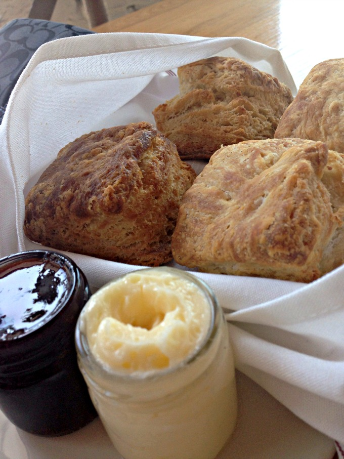 buttermilk biscuits: fresh house-baked biscuits, honey butter, strawberry house jam