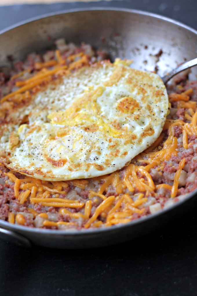 National Corned Beef Hash Day   Corned Beef, Cheese, and a Fried Egg