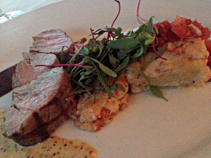 filetto di vitello: grilled veal tenderloin, lobster and crab gratin, angel hair frittata with roasted garlic cream, tomato, fresh herbs
