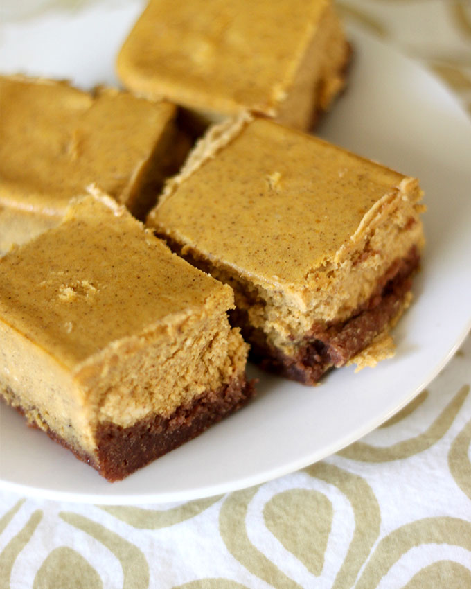 National Pumpkin Cheesecake Day | Pumpkin Cheesecake Squares with Brownie Crust