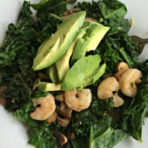 Kale and Shrimp Bowl with Mushrooms and Avocado