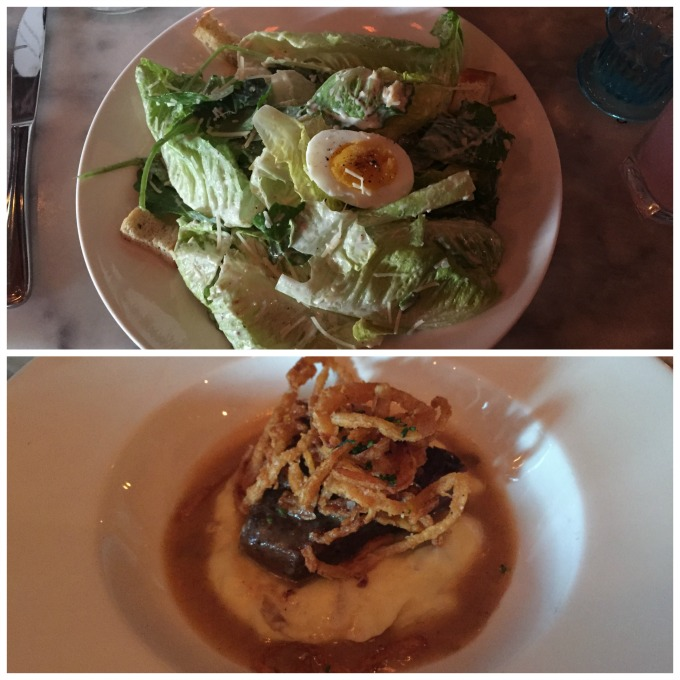 """Caesar salad with romaine, kale, egg, and balsamic; Short rib """"the harlot"""" with horseradish and fried onion"""