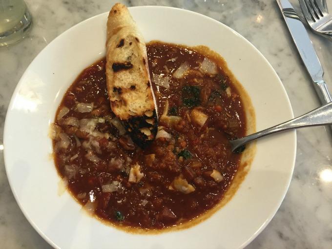 Cannellini Bean Soup with black kale, pancetta, reggiano, and lemon