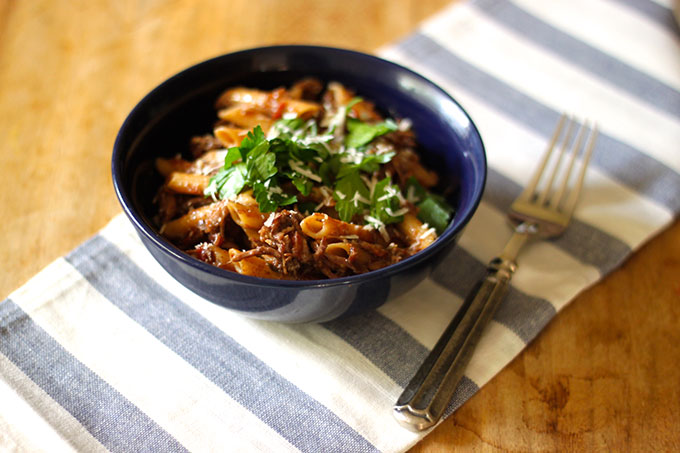 Red Lentil Penne Pasta with Braised Short Ribs