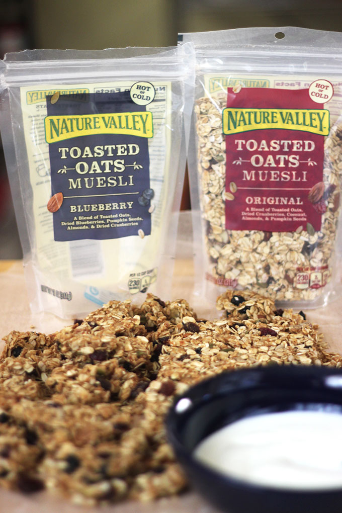 No-Bake Blueberry Muesli + Peanut Butter Granola Clusters