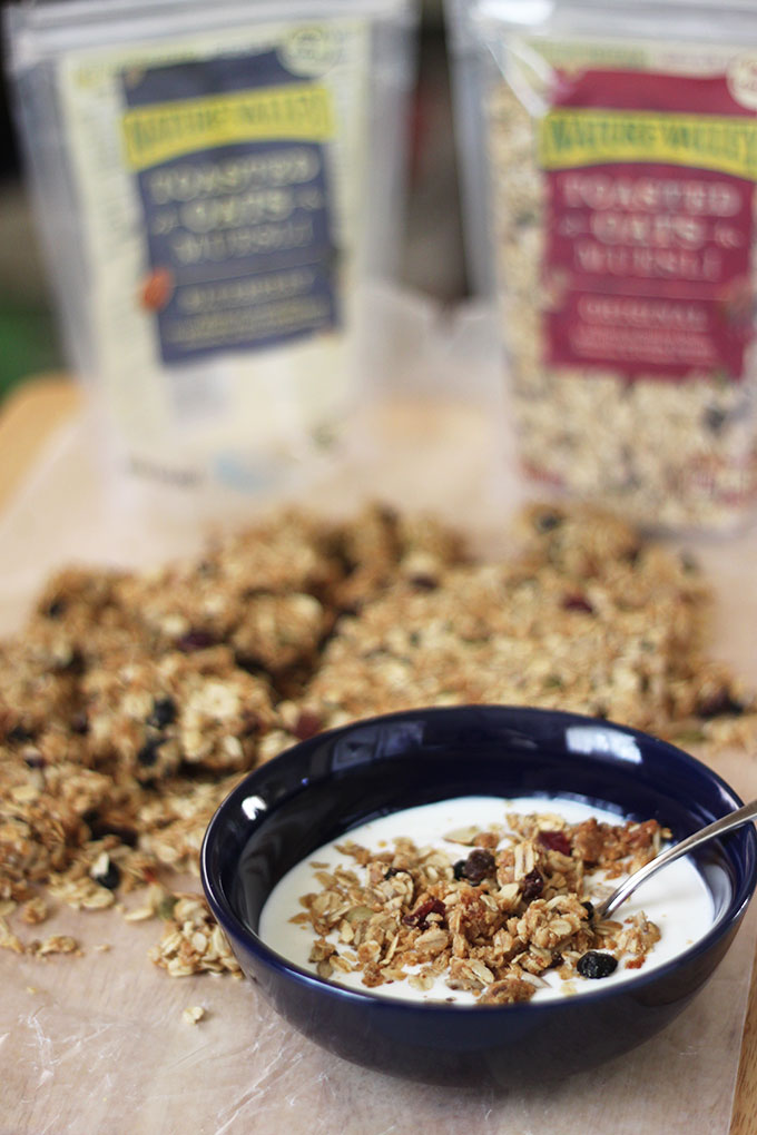 No-Bake Blueberry Muesli + Peanut Butter Granola Clusters