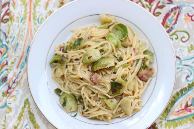 Pasta Aglio e Olio with Brussels Sprouts