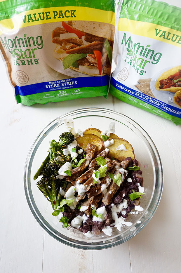 Latin inspired vegetarian power bowl the foodie patootie morningstar farms steak strips with recipe forumfinder Images