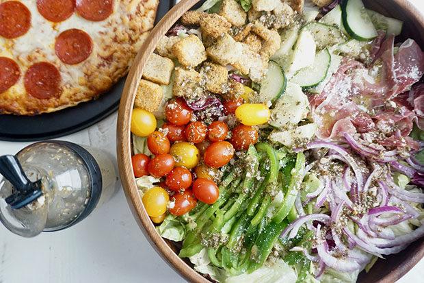 Homemade Italian salad with homemade Italian dressing