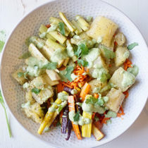 Roasted Root Vegetable Bowl with Cilantro Tahini Dressing recipe