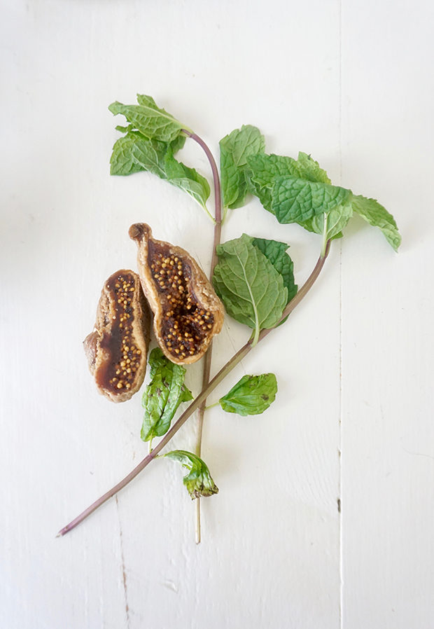 Fresh mint and dried figs