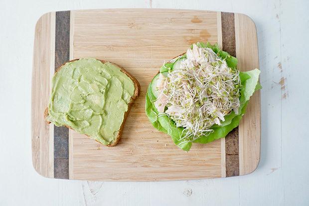 Open avocado sandwich